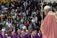 Pope Francis celebrates mass in the Moroccan capital Rabat