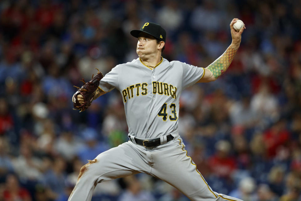 Pittsburgh Pirates' Steven Brault pitches during the third inning of the team's baseball game against the Philadelphia Phillies, Tuesday, Aug. 27, 2019, in Philadelphia. (AP Photo/Matt Slocum)