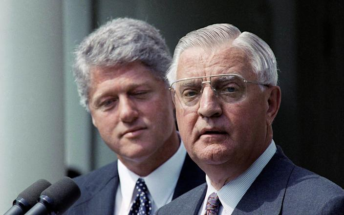 Bill Clinton stands behind his nominee for Ambassador to Japan, Walter Mondale - AP