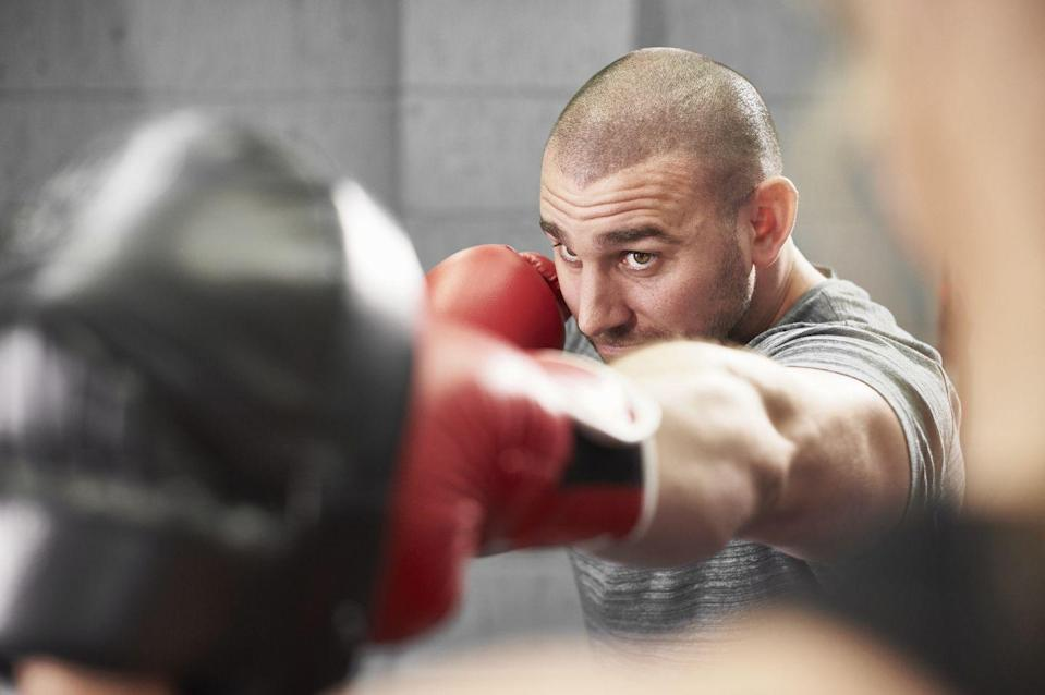"<p>You don't have to get in the ring against an opponent to knock out calories with boxing-style workouts. Hit a heavy bag, work with a partner, or just perform punch combos on air to smash through calories — up to 800 per hour, if <a href=""http://www.coachmag.co.uk/fitness/6739/boxing-burns-more-calories-than-any-other-sport"" rel=""nofollow noopener"" target=""_blank"" data-ylk=""slk:a study"" class=""link rapid-noclick-resp"">a study</a> from supplement maker Forza's claims are correct. Check out <a href=""https://www.menshealth.com/fitness/a19545278/3-powerful-boxing-workouts/"" rel=""nofollow noopener"" target=""_blank"" data-ylk=""slk:these boxing workouts"" class=""link rapid-noclick-resp"">these boxing workouts</a> to get punching.</p>"