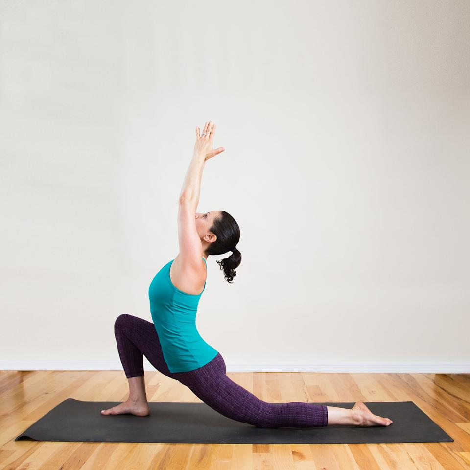 <ul> <li>From Relaxed Down Dog, step the right foot forward between the hands.</li> <li>Inhale to raise the arms up (or rest them on the hips if that's more comfortable), sinking the pelvis toward the floor to intensify the stretch in the hips.</li> <li>Enjoy this stretch for five deep breaths.</li> </ul>
