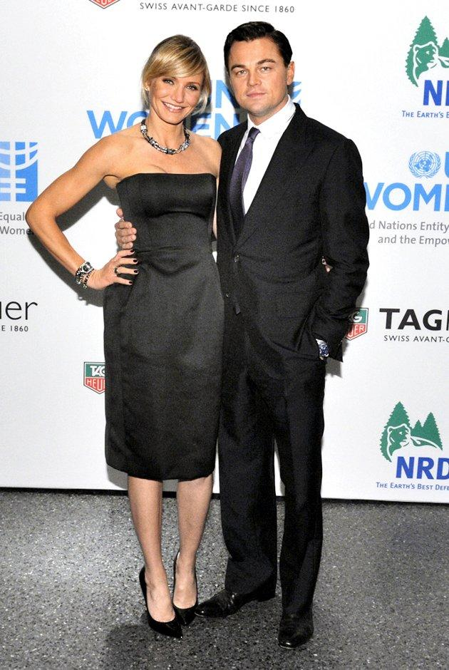 "Cameron Diaz lands in 2 Hot 2 Handle for the second consecutive week thanks to the classic Lanvin LBD she donned at last weekend's Tag Heuer benefit. The smiling blonde also benefited by accessorizing with some handsome arm candy, pal and former ""Gangs of New York"" co-star, Leo DiCaprio. (11/10/2012)"