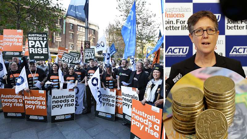 Left: Australians march in a rally in Sydney to raise the minimum wage. Right: ACTU secretary Sally McManus. (Source: AAP, Getty)