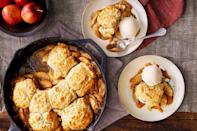 "<p><strong>Recipe: </strong><a href=""https://www.southernliving.com/recipes/apple-butter-cobbler-with-drop-biscuits"" rel=""nofollow noopener"" target=""_blank"" data-ylk=""slk:Apple Butter Cobbler with Drop Biscuits"" class=""link rapid-noclick-resp""><strong>Apple Butter Cobbler with Drop Biscuits</strong></a></p> <p>With this fall cobbler recipe, homemade drop biscuits are so much simpler to make than a fussy lattice crust. For even more depth of flavor in this recipe, we use two types of apples, both sweet and tart.</p>"