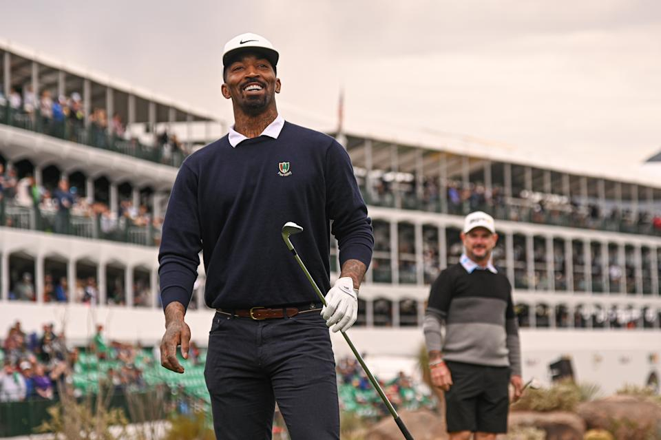 SCOTTSDALE, AZ - JANUARY 29: J.R. Smith smiles on the 16th tee box prior to the Waste Management Phoenix Open at TPC Scottsdale on January 29, 2020 in Scottsdale, Arizona. (Photo by Ben Jared/PGA TOUR via Getty Images)