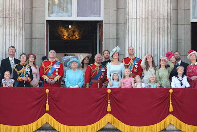 The Queen with several generations of the Royal Family on the balcony of Buckingham Palace for Trooping the Colour (PA)