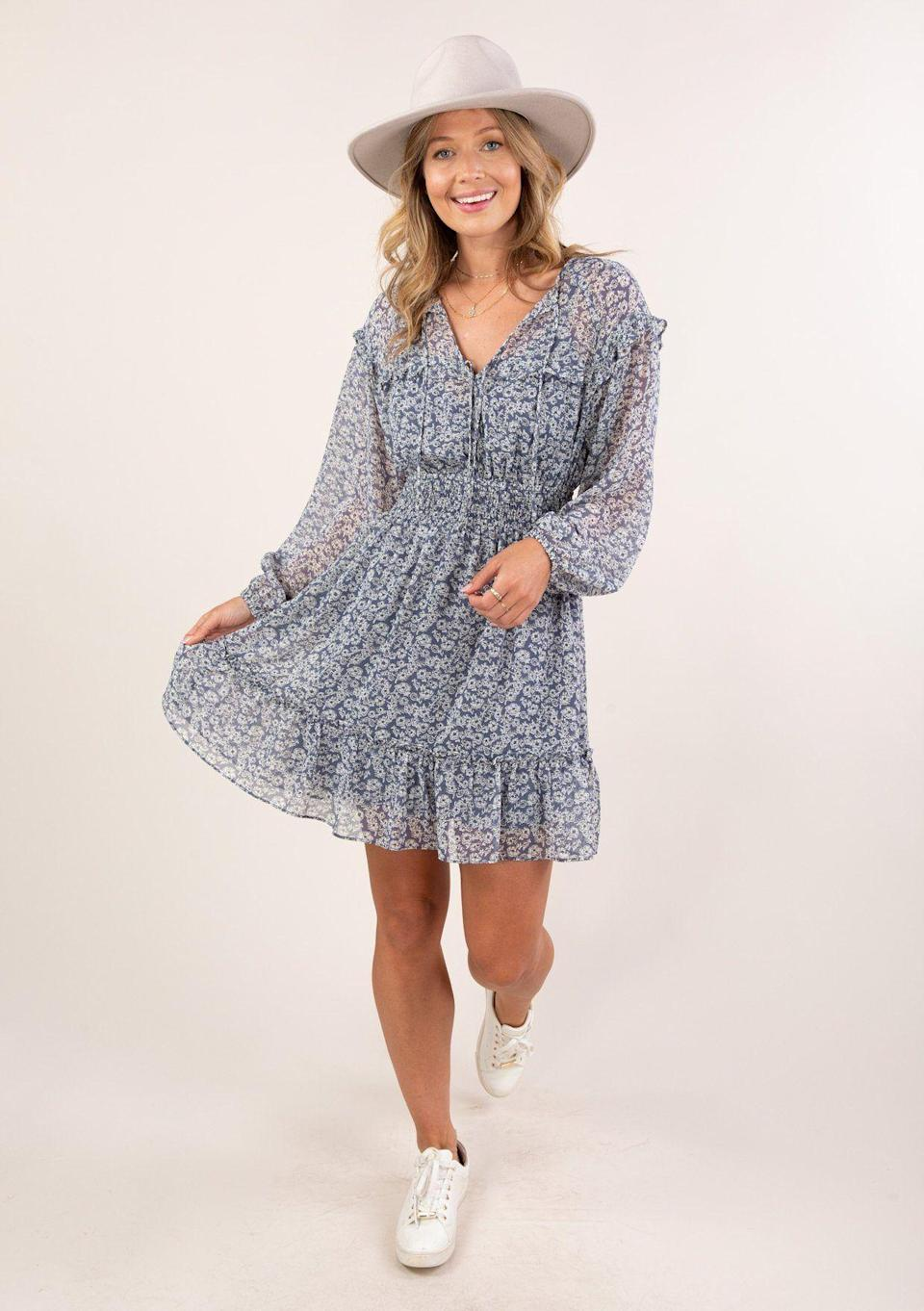 """<p><strong>Love Stitch</strong></p><p>shoplovestitch.com</p><p><strong>$64.00</strong></p><p><a href=""""https://www.shoplovestitch.com/products/flirty-floral-sheer-mini-dress?_pos=54&_sid=ec6fbe8cd&_ss=r&variant=32316401909838"""" rel=""""nofollow noopener"""" target=""""_blank"""" data-ylk=""""slk:Shop Now"""" class=""""link rapid-noclick-resp"""">Shop Now</a></p><p>Whenever I hear the words """"60 percent off,"""" my jaw automatically drops. And it's especially hard to pick it up because the clothes at Love Stitch are already super affordable. If you're drooling too, make sure you <strong>use the code KLARNAHAULIDAY</strong> on August 8 and 9.</p>"""