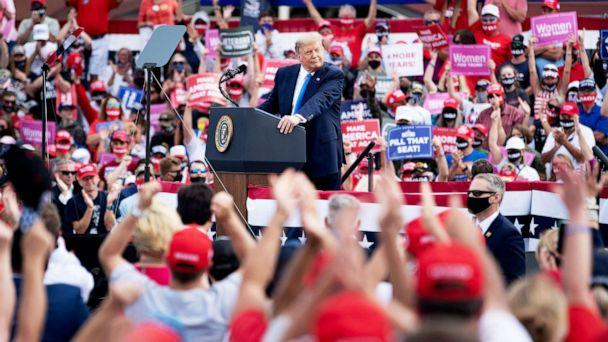 PHOTO: President Donald Trump speaks at a rally held at Pitt-Greenville Airport in Greenville, N.C., Oct. 15, 2020. (Brendan Smialowski/AFP via Getty Images)