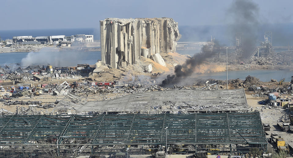 A general view of the destroyed port in the aftermath of a massive explosion in downtown Beirut, Lebanon.