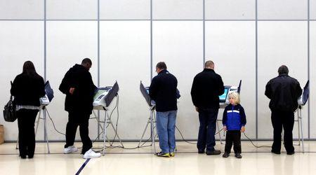 Voters cast their ballots at Legend Elementary School during the U.S. presidential election in Newark