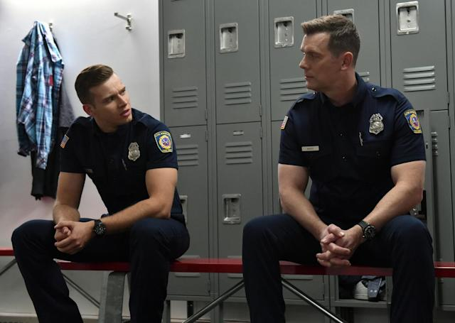 Oliver Stark and Krause in <em>9-1-1</em>. (Photo: Fox)