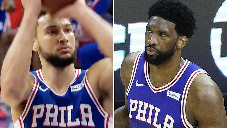 A 50-50 image shows Ben Simmons and Joel Embiid playing for the Philadelphia 76ers.