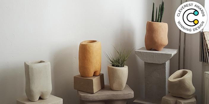 "Hempcrete Vessels by Yasmin Bawa The hippies were right: Hemp is the super plant we should have been using all along. Like live greenery, industrial hemp absorbs carbon dioxide, and binds it permanently to whatever material it's manufactured with. Which means Yasmin Bawa's collection of ceramics—made from a mix of hemp and natural clay—will be reducing your home's carbon footprint even more than the plants housed inside them. The ""hempcrete"" material is also vapor-permeable, so the vessels don't need a drainage hole to keep your plants happy. yasminbawa.com"