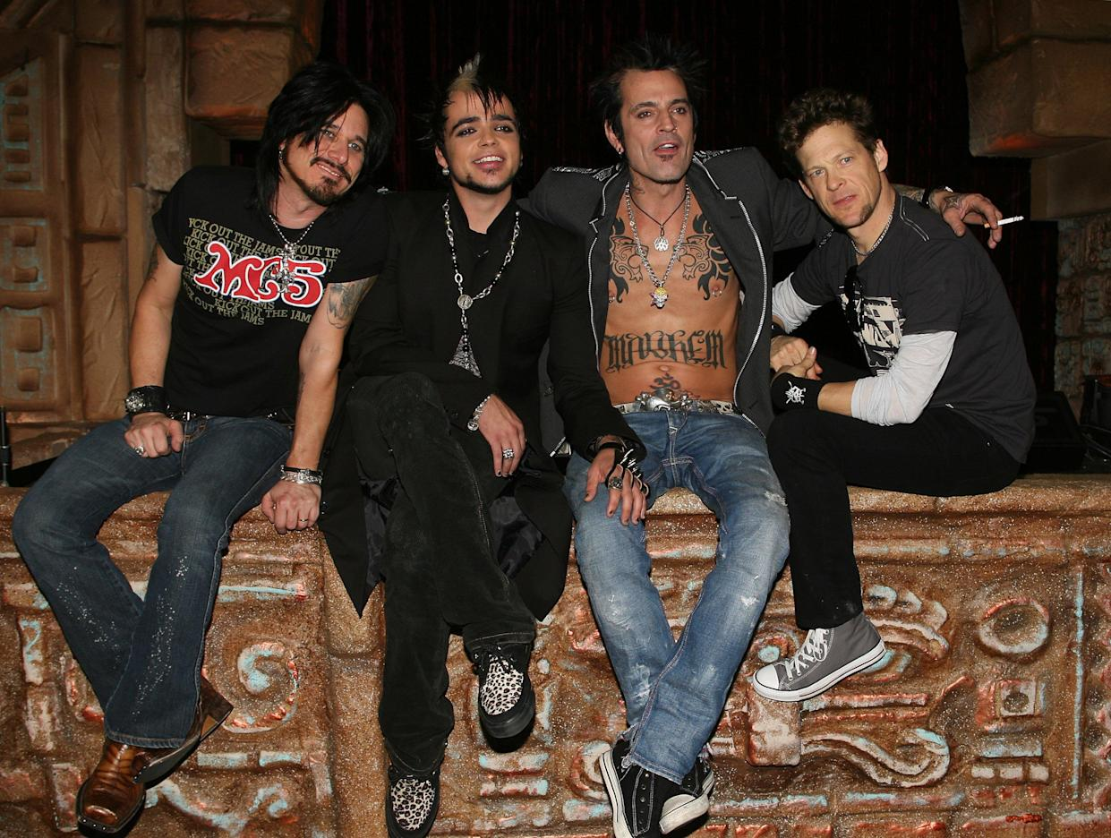 Gillby Clarke, 'Rock Star: Supernova' winmer Lukas Rossi, Tommy Lee, and Jason Newsted in 2006.  (Photo: Frederick M. Brown/Getty Images)
