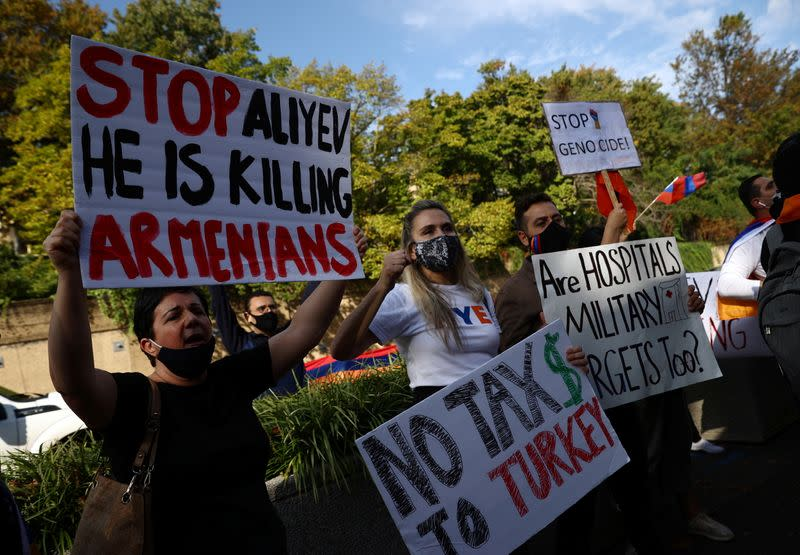 Activists demonstrate outside the State Department as U.S Secretary of State Mike Pompeo meets representatives from Armenia and Azerbaijan in Washington