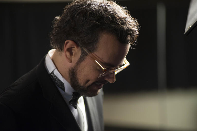 """Mexican singer Aleks Syntek attends a press conference to promote his newest album, """"Romantico Desliz,"""" at the W Hotel in Mexico City, Friday, June 27, 2014. Syntek has been a professional musician for 25 years and """"Romantico Desliz,"""" is his 10th album. (AP Photo/Sean Havey)"""