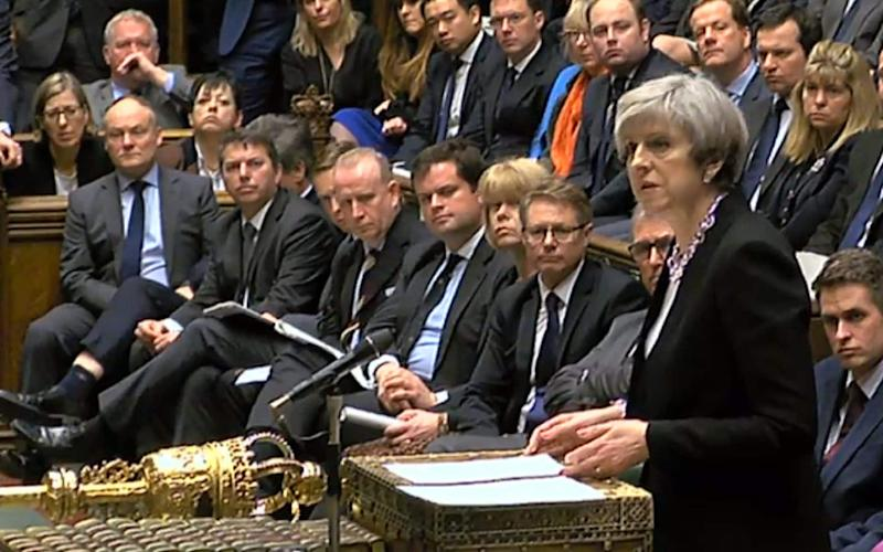 Theresa May speaking to MPs in the House of Commons in the aftermath of the attack - Credit: PA Wire