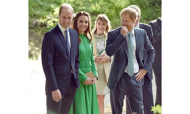Princes Harry and William with Kate Middleton