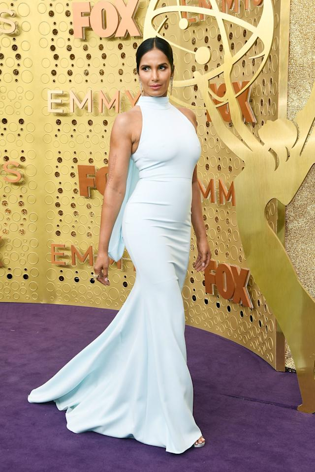 <p>in Christian Siriano and Lorraine Schwartz jewelry.</p>