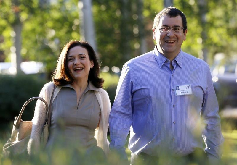 Sandberg, COO of Facebook, arrives with her husband Goldberg, CEO of SurveyMonkey, for the first day of the Allen and Co. media conference in Sun Valley