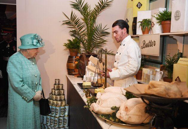 The Queen saw a range of goods at a replica of Sainsbury's first-ever store.