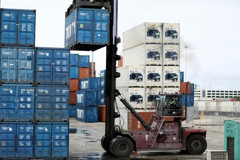 A forklift in use at Port Everglades, Florida