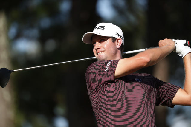 Harris English watches his tee drive on the 18th box during the third round of the Sanderson Farms Championship golf tournament in Jackson, Miss., Saturday, Sept. 21, 2019. (AP Photo/Rogelio V. Solis)