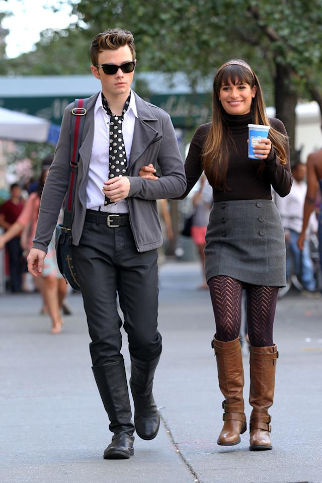 "Now that Chris Colfer and Lea Michele's ""Glee"" characters Kurt and Rachel are attending school in the Big Apple, it was no surprise to see them sporting classic black-and-gray ensembles (perfect for fall!) that also reflect their New York states of mind. (8/12/2012)"
