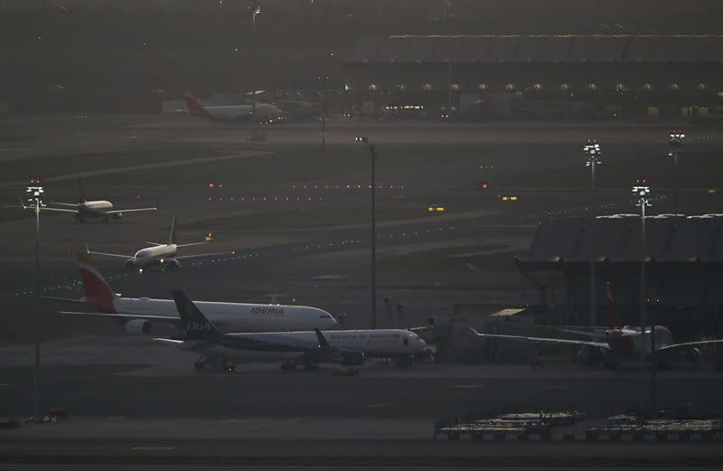 A general view of planes on the tarmac at Madrid's Barajas Airport, in Madrid