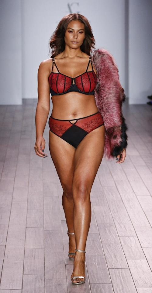 "<p>Marquita Pring, who looked amazing in a matching red underwear and bra set accessorized with a choker and fur stole, congratulated Ashley Graham on Instagram. She wrote, ""Such a sexy collection, #IWantItAll! So SO proud of you and all that you're doing!"" </p>"