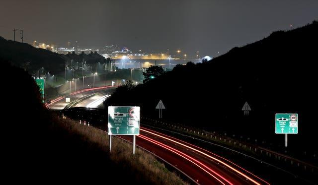 A view of the A20 leading to Dover in Kent (Gareth Fuller/PA)