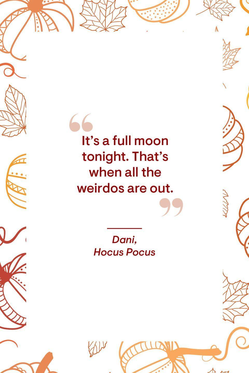 """<p>""""It's a full moon tonight. That's when all the weirdos are out.""""</p>"""