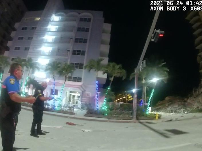 Police body camera footage shows the aftermath of the collapse of the Champlain Towers South in Surfside, Florida.