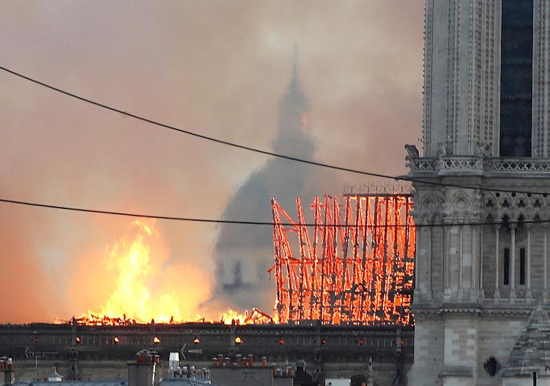 Flames rise from Notre Dame cathedral as it burns in Paris, Monday, April 15, 2019. (Photo: Thibault Camus/AP)