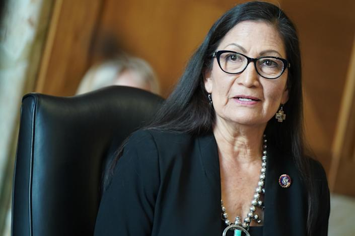 Representative Debra Haaland, President Biden's nominee for secretary of the interior, testifies during her confirmation hearing before the Senate Committee on Energy and Natural Resources at the U.S. Capitol on February 24, 2021. / Credit: Getty Images