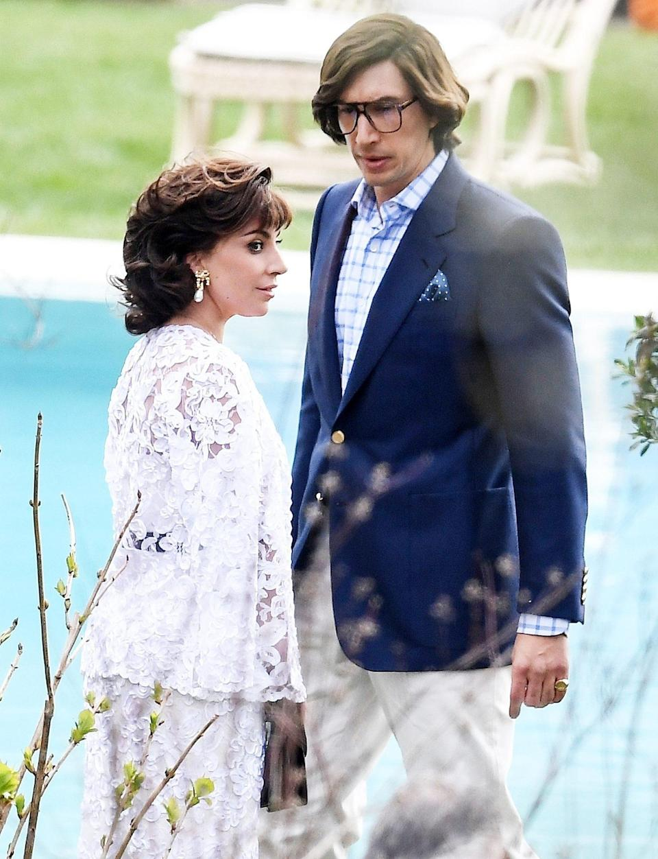 <p>Lady Gaga and Adam Driver continue filming <em>House of Gucci</em> in Lake Como, Italy, on Tuesday.</p>