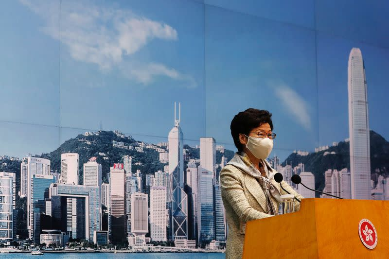 Hong Kong Chief Executive Carrie Lam attends a news conference ahead of national security legislation, in Hong Kong