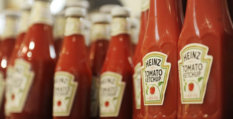 Bottles of Heinz ketchup are on display in a shop in Hamburg, Germany. Heinz has recommended storing its ketchup in the fridge after opening it.
