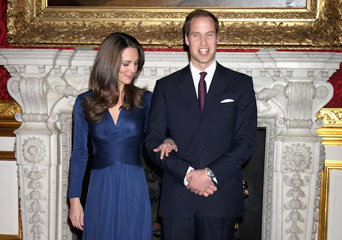 LONDON, ENGLAND - NOVEMBER 16:  Prince William and Kate Middletonarrive to pose for photographs in the State Apartments of St James Palace on November 16, 2010 in London, England. After much speculation, Clarence House today announced the engagement of Prince William to Kate Middleton. The couple will get married in either the Spring or Summer of next year and continue to live in North Wales while Prince William works as an air sea rescue pilot for the RAF. The couple became engaged during a recent holiday in Kenya having been together for eight years.  (Photo by Chris Jackson/Getty Images)
