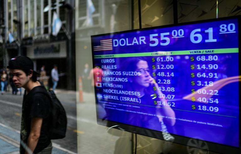 Currency exchange values are displayed on a Buenos Aires street (AFP Photo/RONALDO SCHEMIDT)