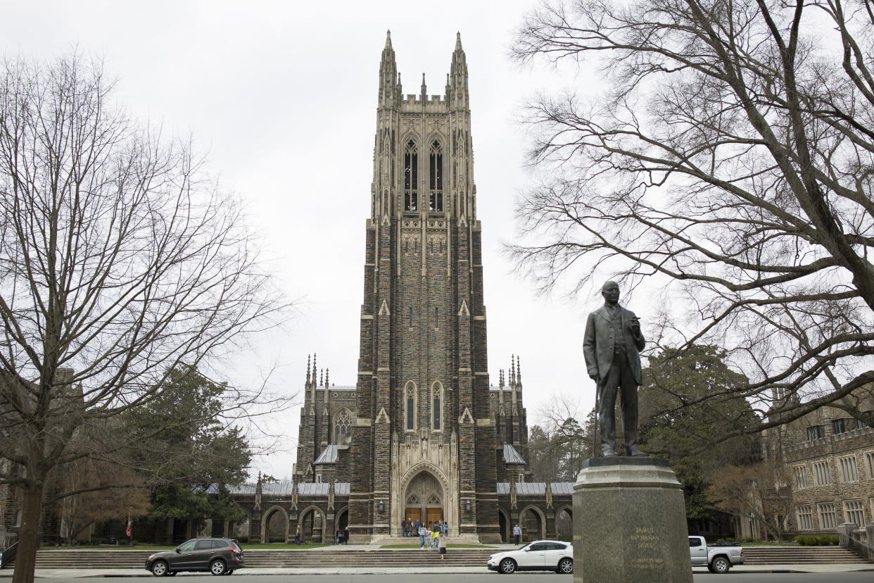 The chapel at Duke University in Durham, N.C., March 10, 2019. (Madeline Gray/The New York Times)