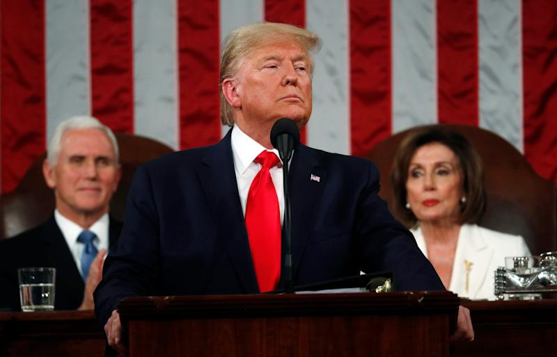 President Donald Trump is pictured delivering the State of the Union address in the House Chamber on Tuesday night