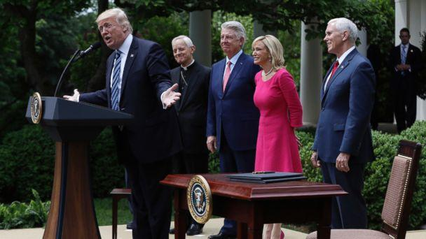 PHOTO: In this Thursday, May 4, 2017 file photo, President Donald Trump speaks in the Rose Garden of the White House in Washington, before signing an executive order aimed at easing an IRS rule limiting political activity for churches.  (AP)