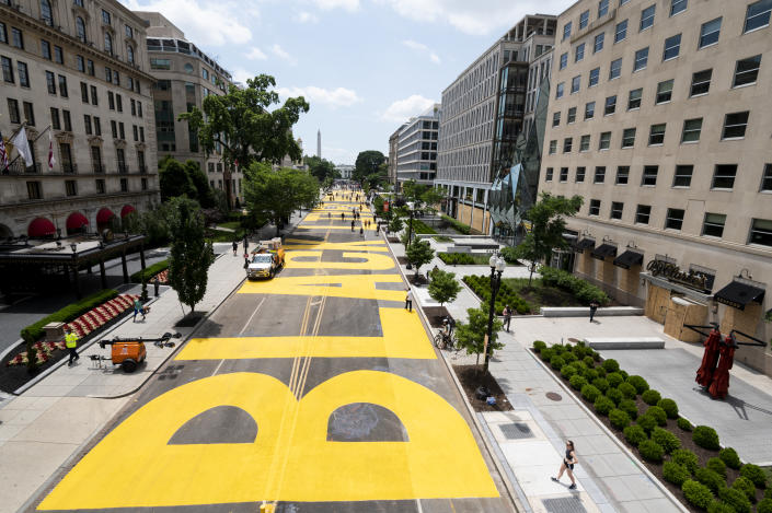 Washington, D.C., renamed a portion of 16th Street Black Lives Matter Plaza on Friday. (Bill Clark/CQ-Roll Call Inc. via Getty Images/Assisted by City of D.C.)