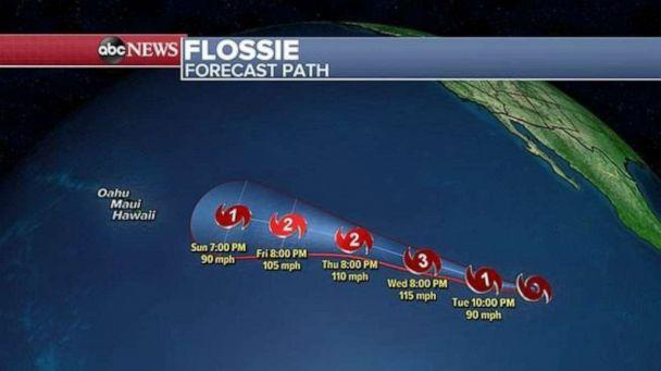 PHOTO: This image shows Flossie's projected path. (ABC News)