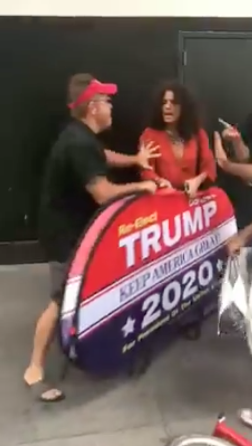 Dion Cini shoved Indya Moore after they tried to walk off with his Trump campaign sign. (Photo: Facebook via Dion Cini)