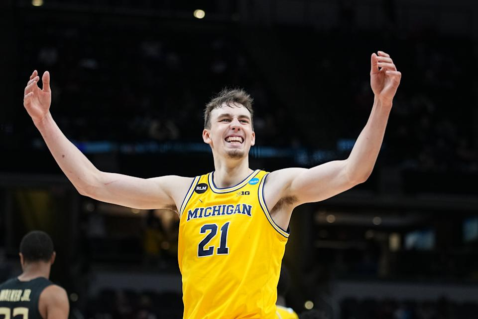 Franz Wagner and Michigan are favored in the Elite Eight. (Photo by Jack Dempsey/NCAA Photos via Getty Images)