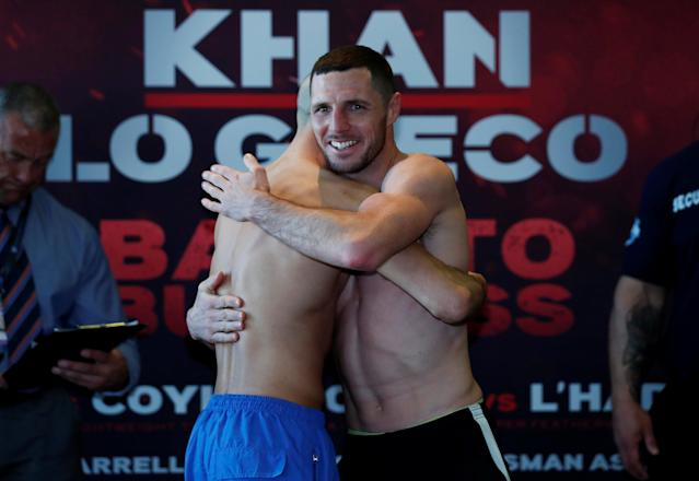 Boxing - Sean Dodd & Tommy Coyle Weigh-In - Hilton Hotel, Liverpool, Britain - April 20, 2018 Sean Dodd and Tommy Coyle during the weigh in Action Images via Reuters/Andrew Couldridge