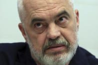 Albanian Prime Minister Edi Rama, speaks during an interview with the Associated Press, in Tirana, Albania, on Tuesday April 20, 2021. Albania holds parliamentary elections on Sunday, April 25. (AP Photo/Hektor Pustina)