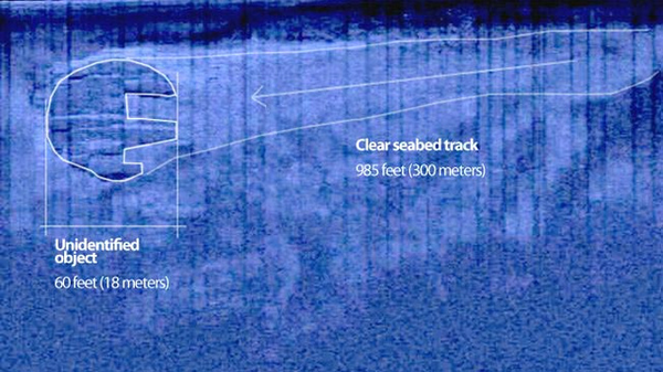 "Sonar image of the Baltic Sea ""UFO"" and adjacent ""track"" of cleared material. White outlines added by the Ocean X Team."
